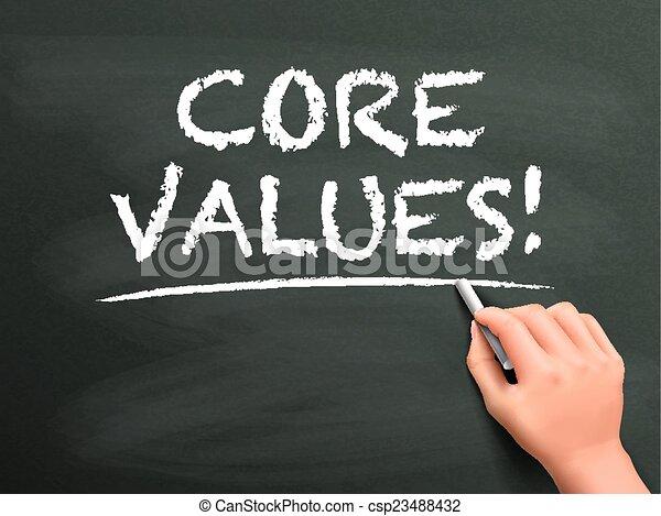 centro, valori, parole, mano scritta - csp23488432