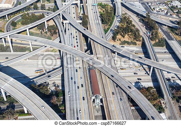 Century Harbor Freeway interchange intersection junction Highway Los Angeles roads traffic America city aerial view photo - csp87166627