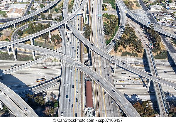 Century Harbor Freeway interchange intersection junction Highway Los Angeles roads traffic America city aerial view photo - csp87166437
