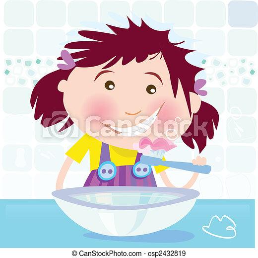 La chica se lava los dientes - csp2432819