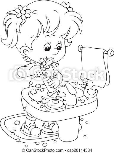 Niño cepillando dientes - csp20114534