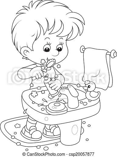 Niño cepillándose los dientes - csp20057877