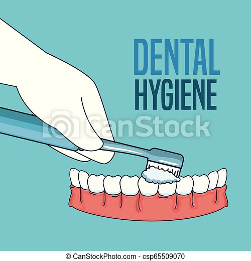 Tratamiento de higiene dental con herramienta de cepillo de dientes - csp65509070