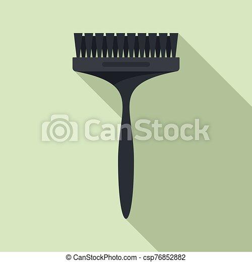 cepillo, plano, icono, tinturapara el cabello, estilo - csp76852882
