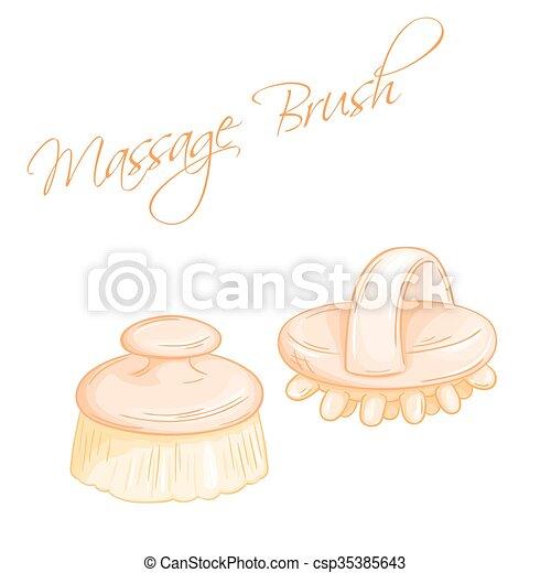 Ilustración del vector dibujada a mano de pinceles de masaje aislados - csp35385643