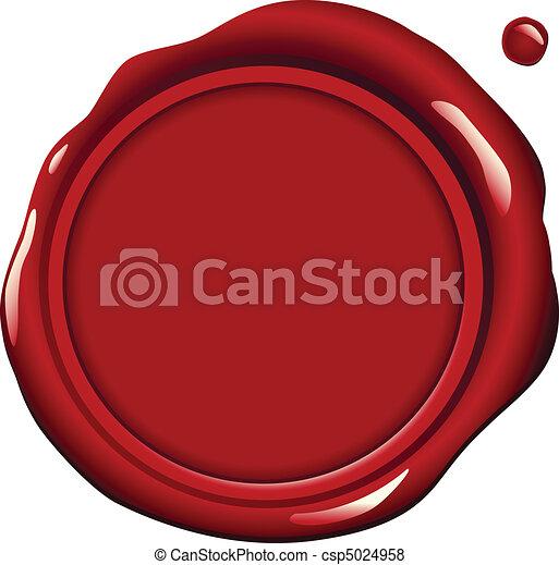 cera, vermelho, selo - csp5024958