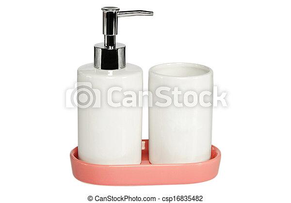 Ceramic bath set on white background - csp16835482