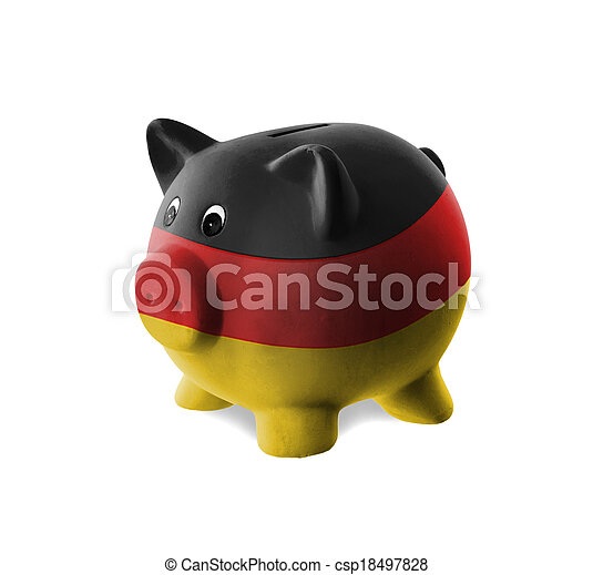 Ceramic piggy bank with painting of national flag  - csp18497828