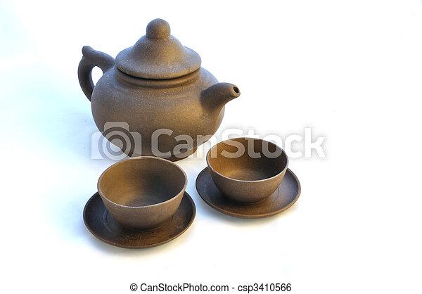 Ceramic teapot with cups - csp3410566