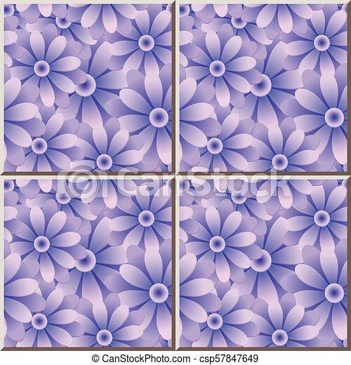 Ceramic tile pattern purple blue round daisy garden flower - csp57847649