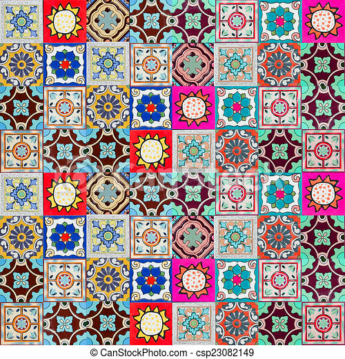 Ceramic tiles patterns from portugal. drawing - Search Clip Art ...