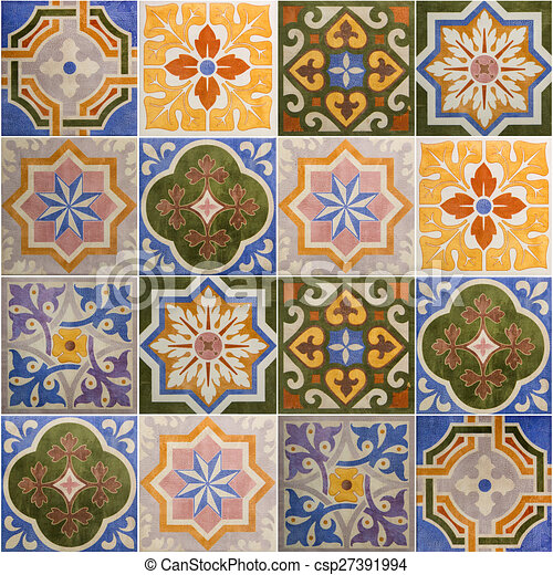 Ceramic tiles patterns from portugal. stock illustration - Search ...