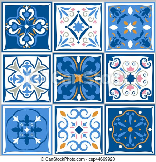 Ceramic Tiles Vintage Patterns Vector Spanish Style Architecture Simple Spanish Patterns