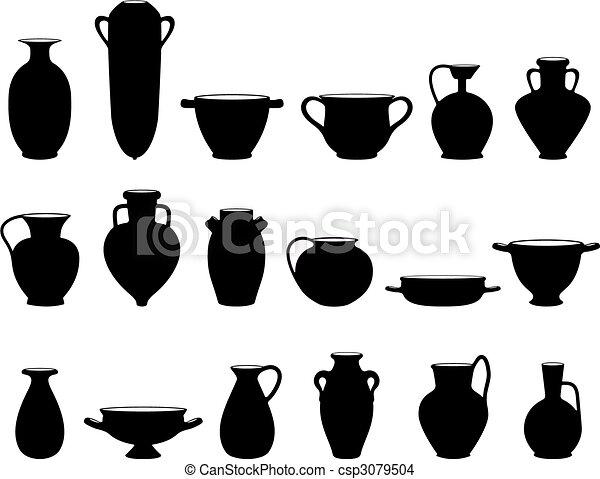 Ceramica Vecchio Vecchio Vasellame Silhouette Oggetti
