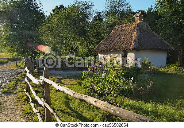 Una pequeña cabaña ucraniana con un techo de paja rodeado por una cerca de madera - csp56502654