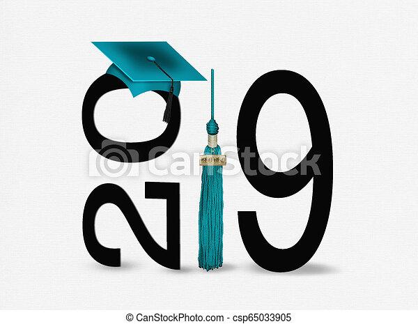 Graduación 2019 Cap, borla y negro - csp65033905