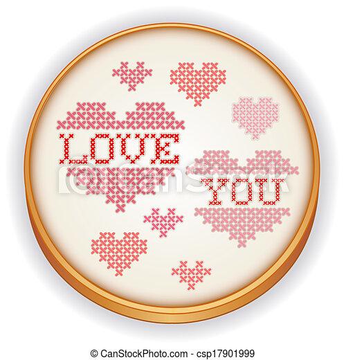 cerchio, legno, amore, lei, ricamo - csp17901999