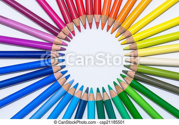 cerchio, pastelli, colorito - csp21185501