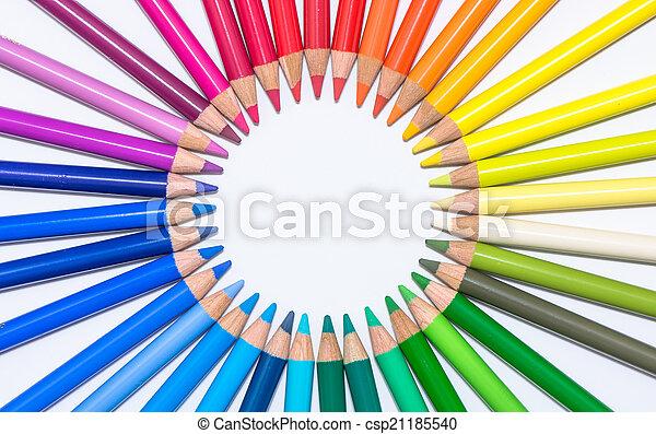 cerchio, pastelli, colorito - csp21185540