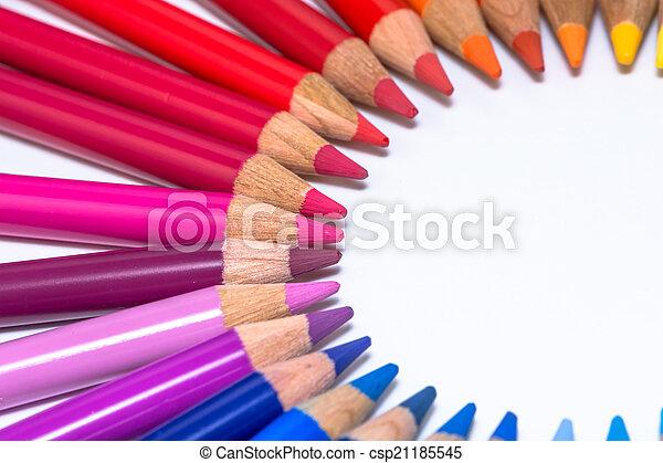 cerchio, pastelli, colorito - csp21185545