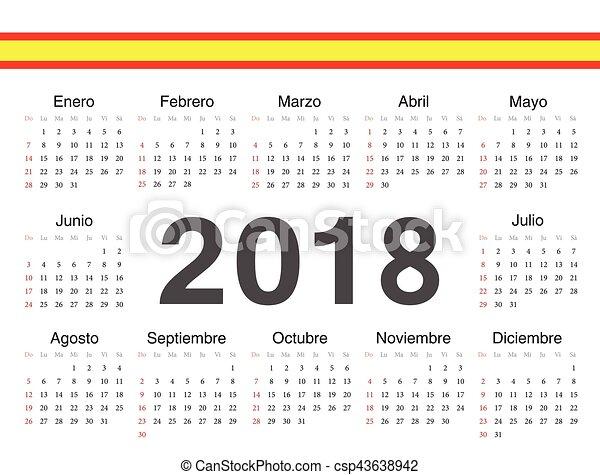 Calendario Spagnolo.Cerchio Vettore 2018 Calendario Spagnolo