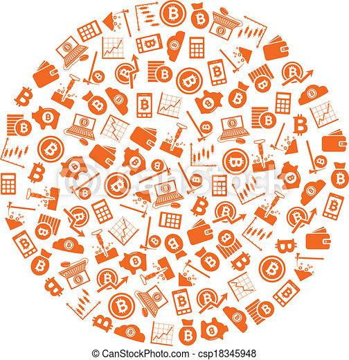 cercle, bitcoin, icônes - csp18345948