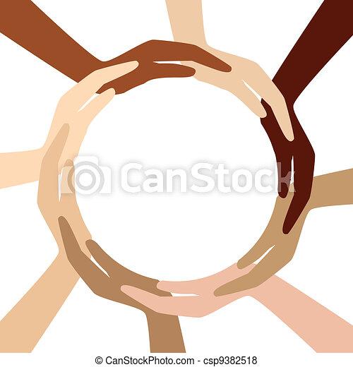 cercle, différent, mains - csp9382518
