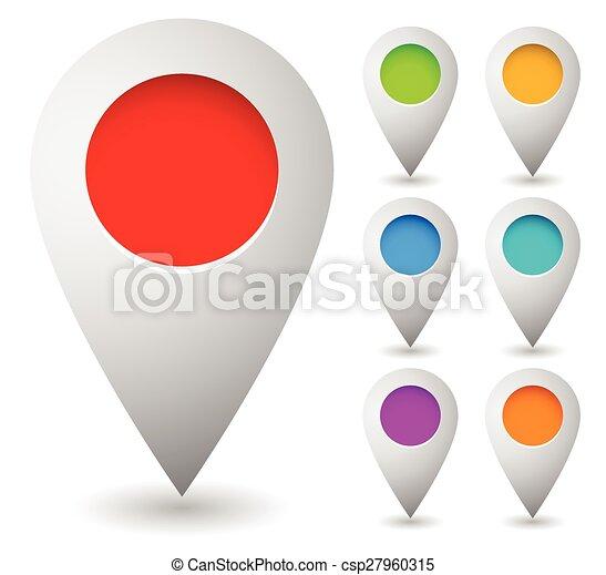 cercles, carte, vector., épingle, marqueurs, marqueur, vecteur, space., 7, vide, graphics., colors.