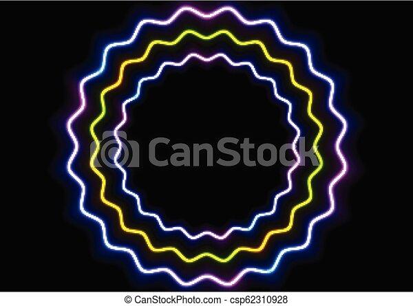 cercles, coloré, résumé, néon, incandescent, ondulé, fond - csp62310928