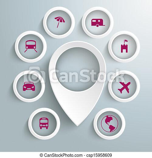 cercles, icônes, 8, voyage, marqueur, piad, emplacement, blanc - csp15958609