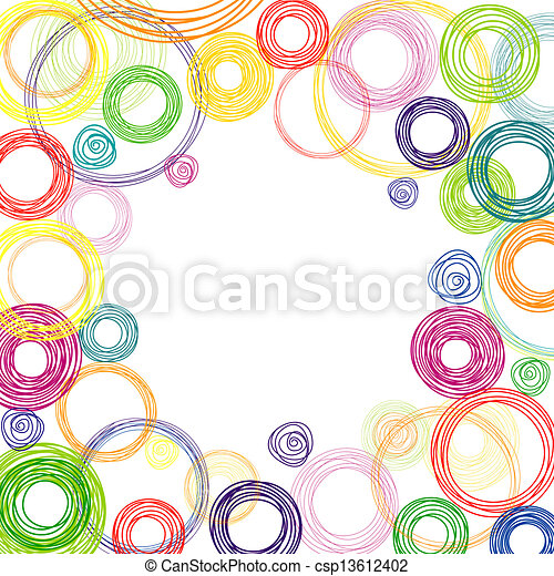 cercles, résumé, carrée, arrière-plan coloré - csp13612402