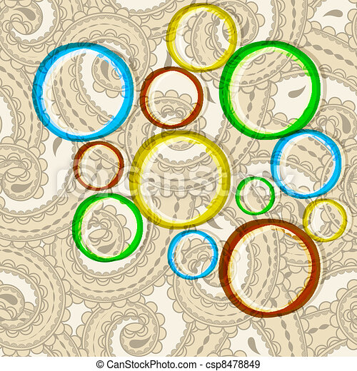 cercles, style, oriental, paisley, seamless, clair, vecteur, fond - csp8478849