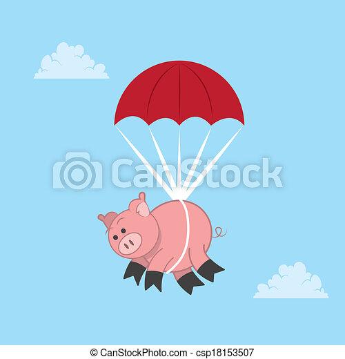 Cerdo en paracaídas - csp18153507