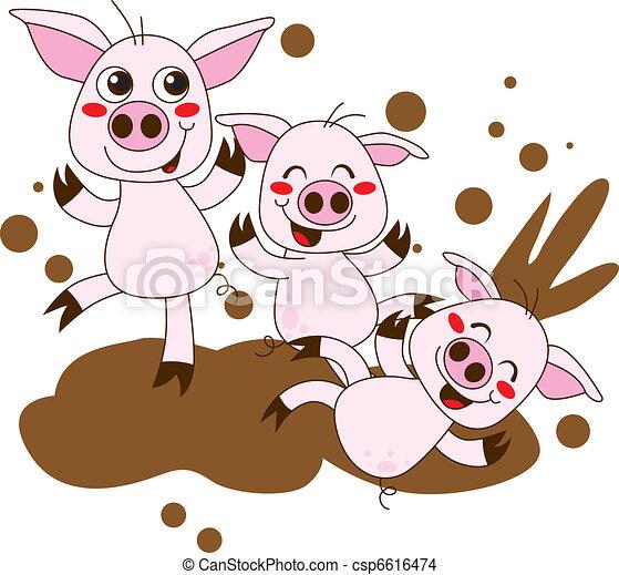 Grficos vectoriales EPS de cerdos feliz  Three divertido