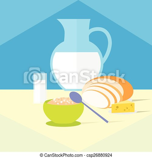 cereal bowl milk bread cheese healthy food breakfast flat icon - csp26880924