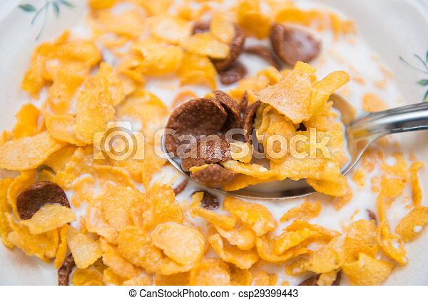 cereal in milk breakfast for health - csp29399443