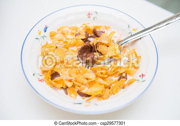cereal in milk breakfast for health - csp29577301
