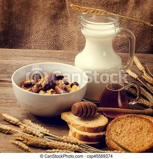 cereal, milk and honey - csp45569374