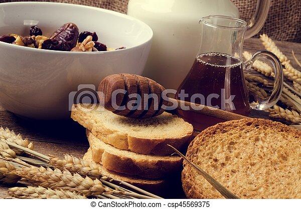 cereal, milk and honey - csp45569375