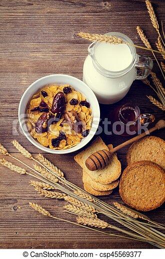 cereal, milk and honey - csp45569377