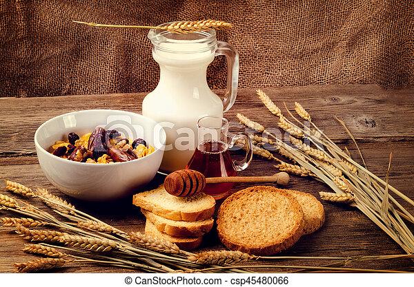 cereal, milk and honey - csp45480066