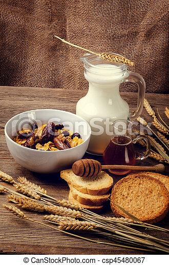 cereal, milk and honey - csp45480067