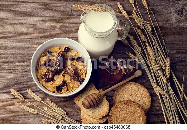 cereal, milk and honey - csp45480068