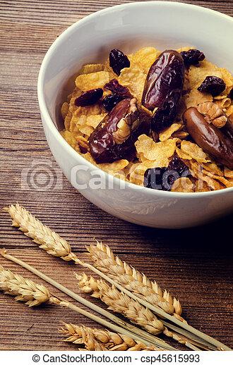 cereal, milk and honey - csp45615993