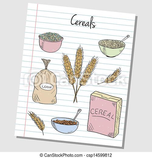 Cereals doodles - lined paper - csp14599812