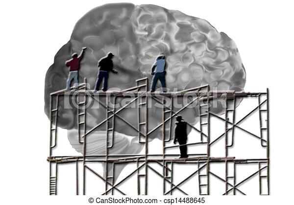 cerebro, hombres, andamio, trabajando - csp14488645