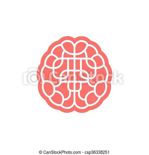 El icono del laberinto cerebral aislado en blanco. - csp36338251