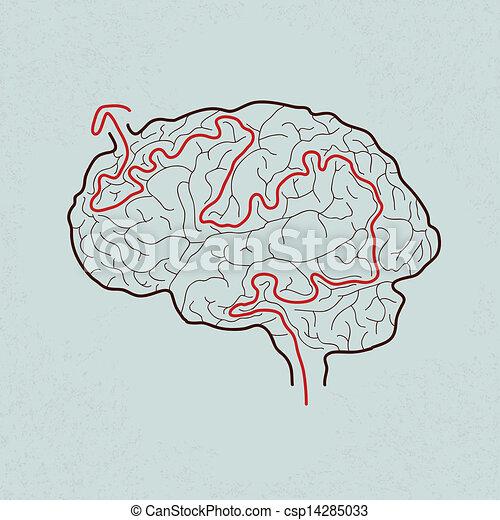 laberinto cerebral con el camino correcto - csp14285033
