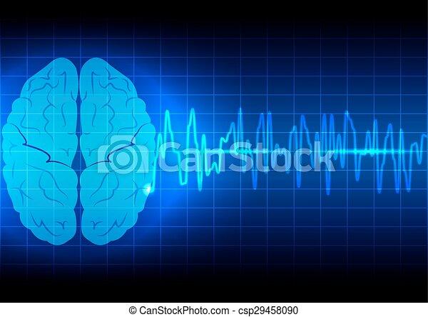Abstraer el concepto de onda cerebral en tecnología de fondo azul - csp29458090