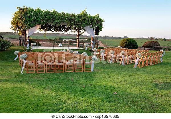 ceremonia, (chuppah, na wolnym powietrzu, ślub, huppah), baldachim, albo - csp16576685
